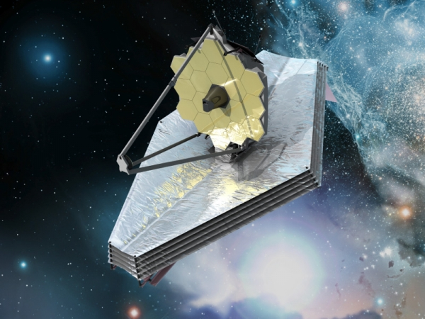 A rendering of the JWST